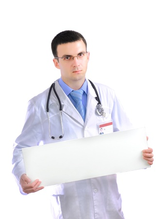 houseman: Medical doctor with blank poster. Isolated over white. Stock Photo