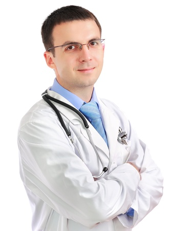 houseman: Portrait of friendly medical doctor with cross a hands. Isolated Stock Photo