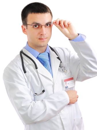 houseman: Portrait of medical doctor with phonendoscope. Isolated over white