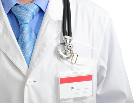 houseman: Fragment medical doctors smock with stethoscope. Isolated over white