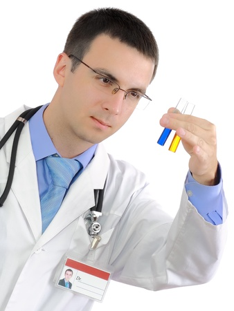houseman: Doctor  resarch a medical test glass with urine. Isolated over white
