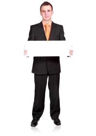Caucasian businessman with empty , blank white card. Isolated Stock Photo - 10275356