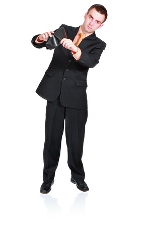 moneyless: Cheerful businessman show empty wallet. Isolated over white Stock Photo