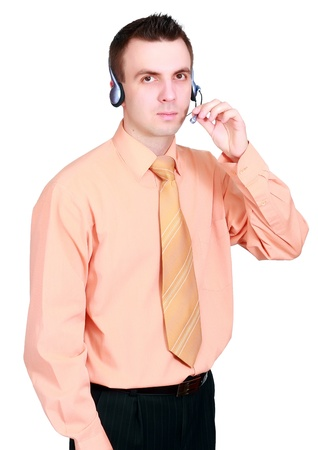 Portrait of operator call-centre on white background.  Isolated over white photo
