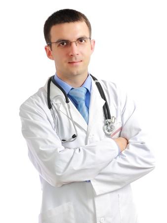 dottore stetoscopio: Ritratto di medico amichevole con croce un mani. Isolato