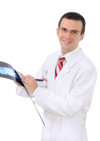Friendly medical doctor stand with a x-ray image and medical pad. Isolated photo