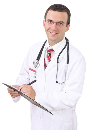 Portrait of medical doctor. Write on paper pad. Isolated over white photo