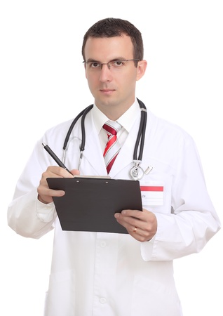 Portrait of medical doctor. Write on paper pad. Isolated over white