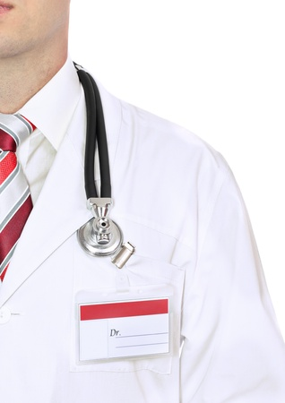 smock: Fragment medical doctors smock with stethoscope. Isolated over white