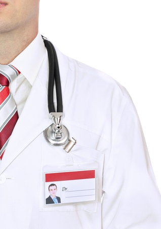 Fragment medical doctor's smock with stethoscope. Isolated over white Stock Photo - 10275655