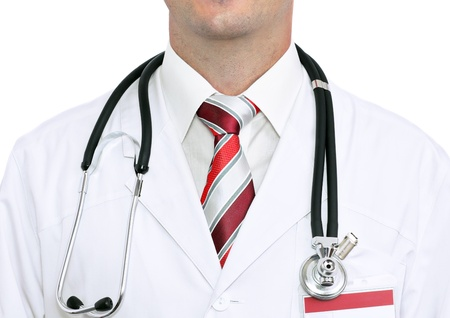 by pass surgery: Fragment medical doctors smock with stethoscope. Isolated over white