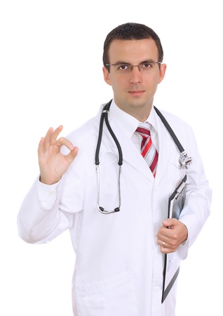 houseman:   Friedly caucasian  doctor show gesture OK! Isolated over white.