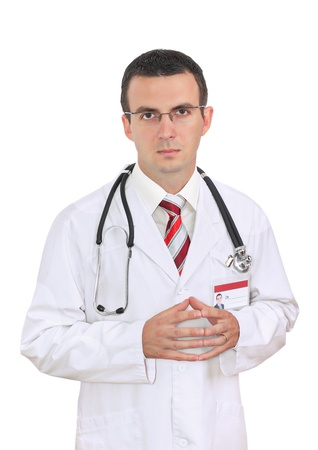 houseman: Portrait of friendly medical doctor with sadness and sympathetically face. Isolated Stock Photo