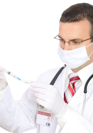 Doctor fill syringe medication from ampule. Isolated over white photo