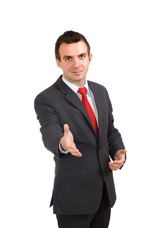 Cheerful businessman ready for handshake. Isolated over white. Stock Photo - 10275588