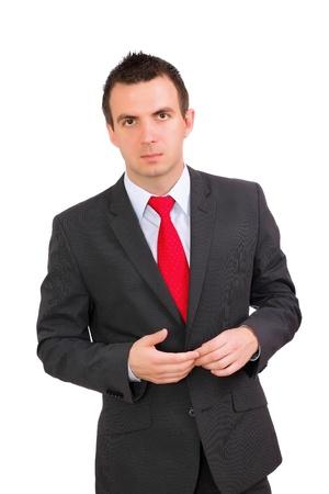 pensiveness: Caucasian businessman - in pensiveness condition. Isolation over white
