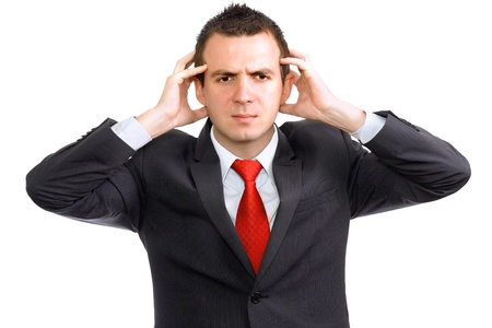 ravage: Businessman hold a head in horror condition. Isolated over white Stock Photo