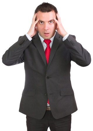 needy: Businessman hold a head in horror condition. Isolated over white Stock Photo