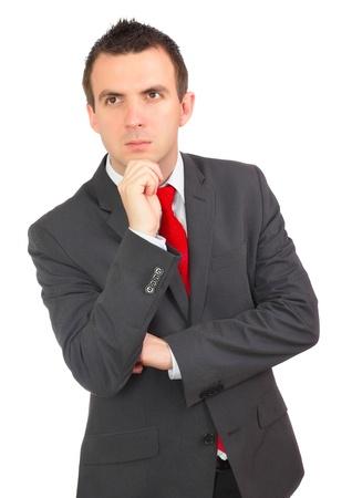 pensiveness: Caucasian imprenditore - in condizione di pensosit�. Isolamento su bianco