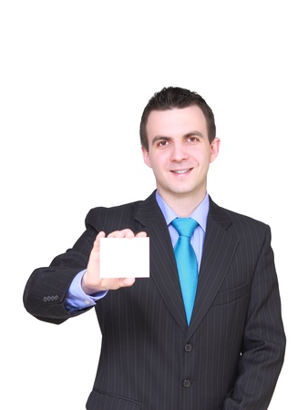 Caucasian businessman with empty , blank white card. Isolated Stock Photo - 10275550