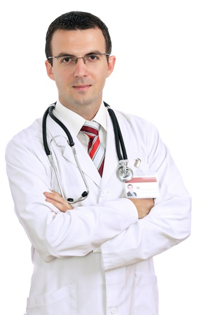 Portrait of friendly medical doctor with cross a hands. Isolated Stock Photo - 10275583