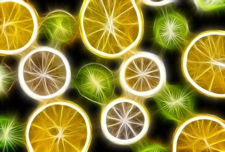 Background texture-fruit mix: lemon, orange, kiwi on black background. Stock Photo - 10276634