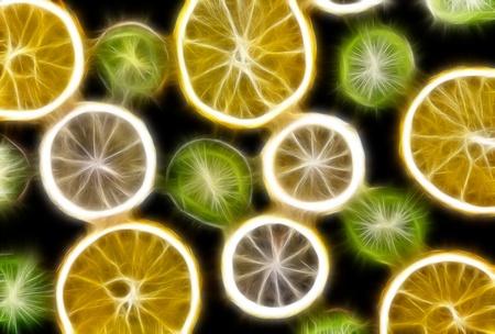 Background texture-fruit mix: lemon, orange, kiwi on black background. photo