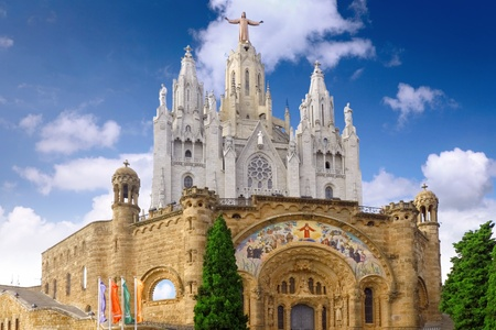 Temple on mountain top - Tibidabo in Barcelona city. Spain photo