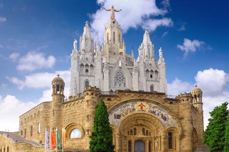 tibidabo: Temple on mountain top - Tibidabo in Barcelona city. Spain
