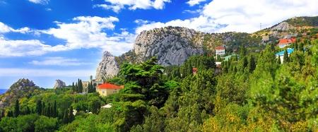 rocky mountain juniper: South part of Crimea peninsula, beach   landscape. Ukraine. Stock Photo