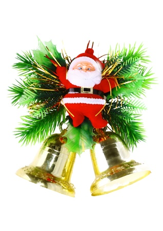 Christmas and New Year decoration-Santa Claus and Jingle Bells. Isolated photo