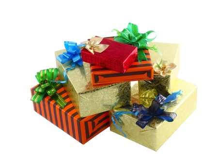 Pile of Christmas and New Year gift boxes. Isolated over white background Stock Photo - 10697931
