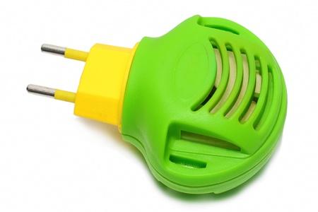 fumigador: Verde con amarillo fumigador moderna. Isolataed Foto de archivo
