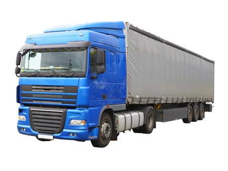 carryall: Big blue truck. Isolated over white.