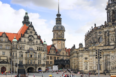 dresden: Old Town and fragment of Katholische Hofkirche, Dresden, Germany.