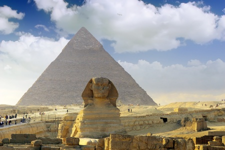 Great Pyramid of Pharaoh Khufu, located at Giza and the Sphinx. Egypt. photo