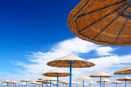 timeshare: Beauty landscape of sun umbrella, make of reed Stock Photo