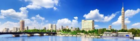 Panorama en El Cairo, frente al mar del río Nilo. El Cairo, Egipto.