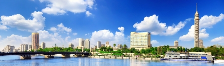 Panorama on Cairo, seafront of Nile River. Cairo, Egypt.