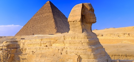 Great Pyramid of Pharaoh Khufu, located at Giza and the Sphinx. Egypt. Panorama photo