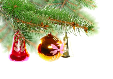 Christmas decoration-glass  ball on fir branches.Isolated Stock Photo - 11300602