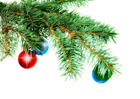 Christmas decoration-glass  ball on fir branches.Isolated photo