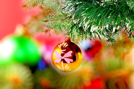 Christmas and New Year decoration-balls on fir tree. photo