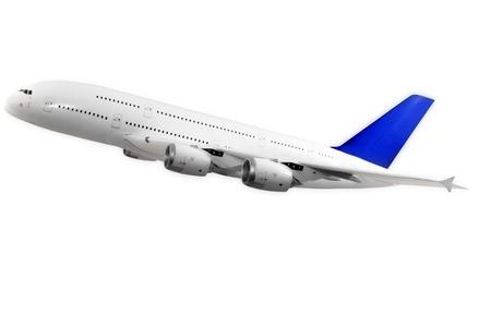 flight: Modern airplane isolated on white background.