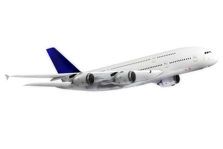 fuselage: Modern airplane isolated on white background.
