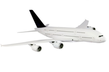 undercarriage: Modern airplane isolated on white background.