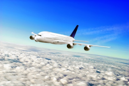 Modern airplane  in the sky near Airport. Approach Stock Photo - 11544169