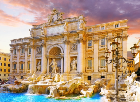 Fountain di Trevi - most famous Rome Stock Photo