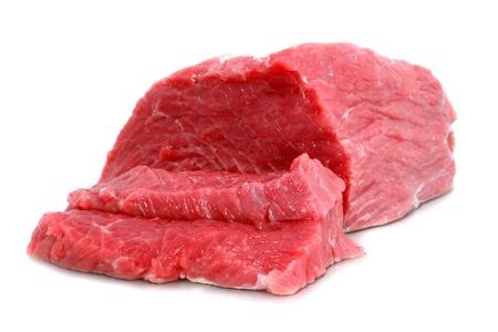 steak cru: Couper de steak de b?uf sur fond blanc. Isol�. Banque d'images
