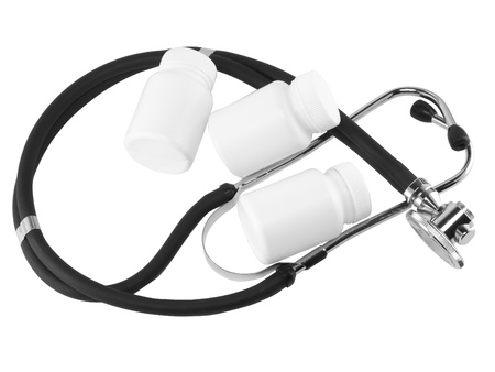 lpn: Stethoscope with medicine blank bottles on white background . Close-Up. Isolated.